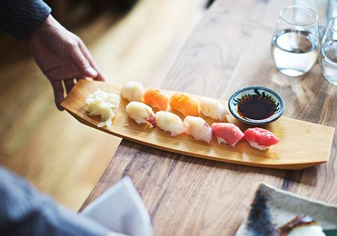 Sushi on a wooden platter